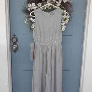 New Asos gray embellished beaded dress size small